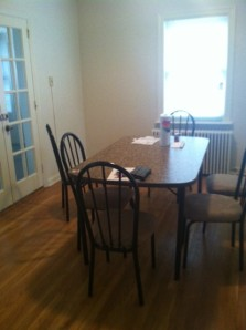 The dining room of the FEMA apartment.