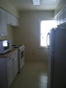 The kitchen at the FEMA sponsored housing on Suneagles Golf Course.